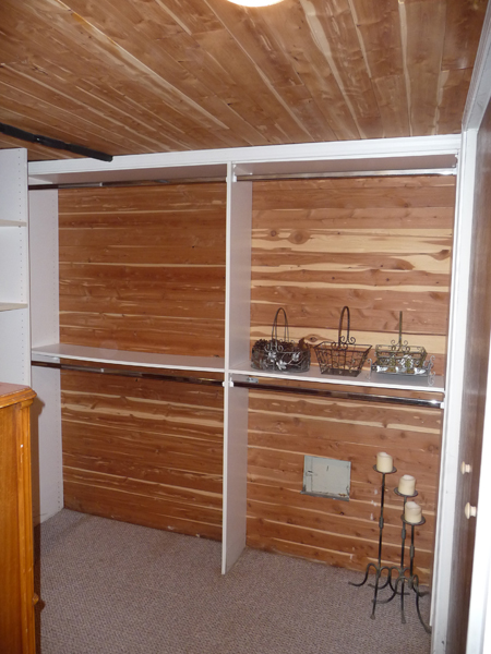Walk In Cedar Closet With Extra Storage Shelves Double Hang And Long Built Ins